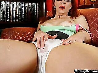 Classy mature horny lady masturbates in panties and pantyhose