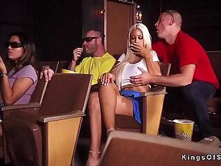 Huge natural big boobs blonde cheating at the cinema
